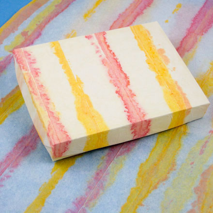 box lid cover with painted tissue paper