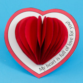 Printable Valentine with  3-D heart center