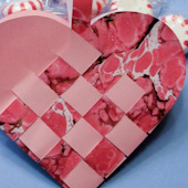 Valentine's Day basket made with marbled paper