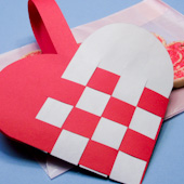 Traditional woven paper Valentine askets