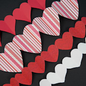 Paper heart chains for Valentine's Day