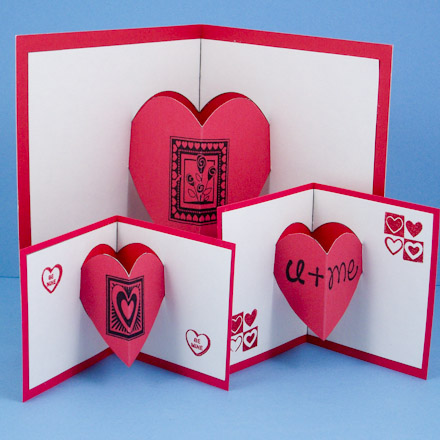 Cards kids can make aunt annies crafts heart pop ups in three sizes m4hsunfo
