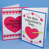 Fronts of Valentine's Day pop-up cards