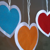 Related project: Valentine suncatchers with colored tissue paper